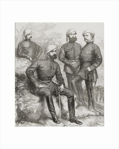Don Carlos Duque de Madrid, and his staff during the Spanish Civil War of 1873 by Spanish School