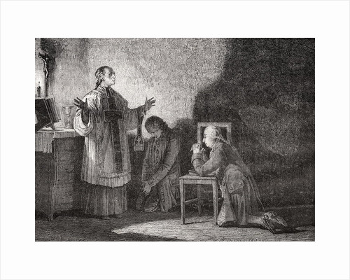 Louis XVI at Prayer Before his Execution by H. de la Charlerie