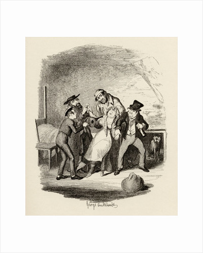 Mr Fagin and his pupil recovering Nancy by George Cruikshank