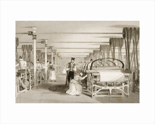 Weaving on Power Looms, Cotton factory floor, engraved by James Tingle by Thomas Allom