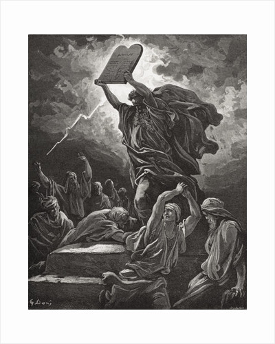 Moses Breaking the Tablets of the Law, Exodus 32:19 by Gustave Dore