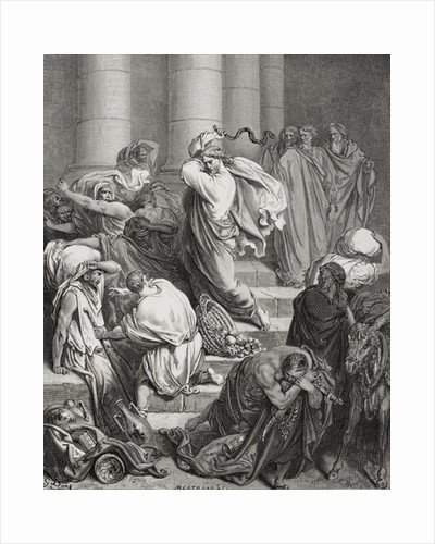 The Buyers and Sellers Driven Out of the Temple, Luke 19:45-46 by Gustave Dore