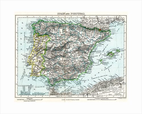 Map of Spain and Portugal from Milner's Gallery of Geography by English School