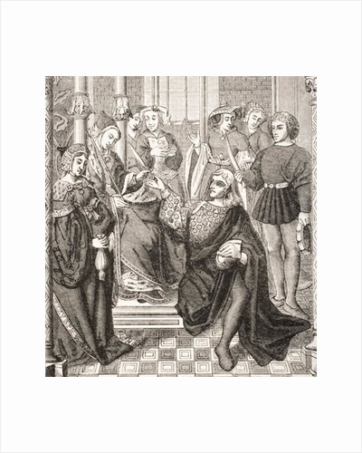 Queen Fredegond gives orders to two men of Terouanne to assassinate Sigbert, King of Austrasia by French School