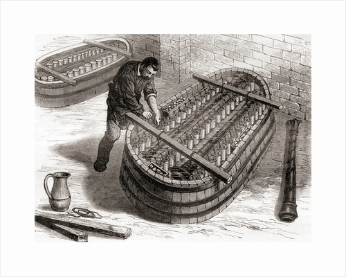Worker using an electrochemical bath to copper plate a chandelier cast in Monsieur Oudry's workshop in the 19th century by French School