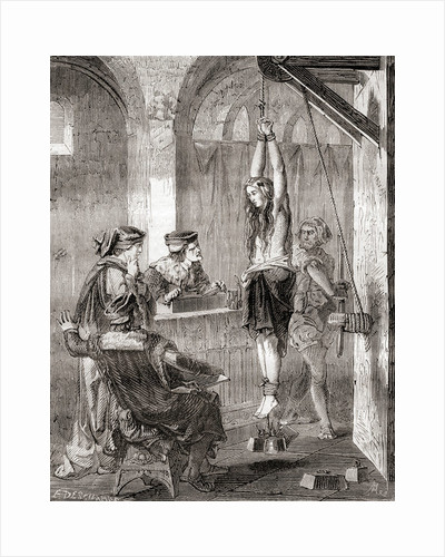 The torture of a woman accused of witchcraft in the middle ages by French School