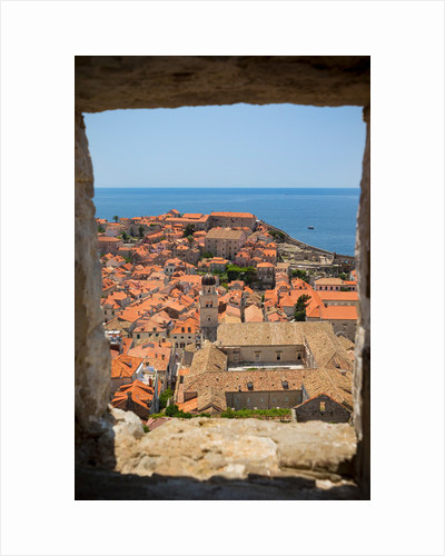 View over rooftops of the old town from the Minceta Tower, with boats in the Old Port, Dubrovnik, Croatia by Anonymous