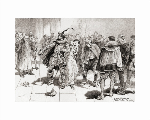 """Petruchio: """"Fear not, sweet wench, they shall not touch thee Kate, I'll buckler thee against a million"""" by Gordon Frederick Browne"""