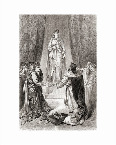 A scene from William Shakespeare's play 'The Winter's Tale', Act V, Scene 3 by Gordon Frederick Browne