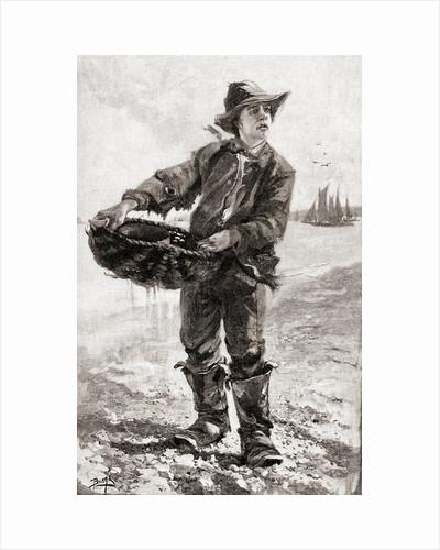 A 19th century English fish boy or fish seller by American School