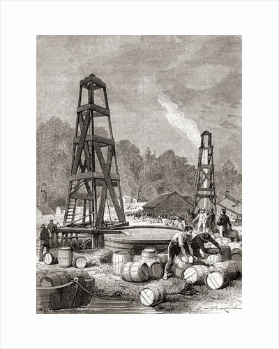 A source of petroleum at Oil Creek on the Allegheny River, Pennsylvania, U.S.A. in 1858 by French School