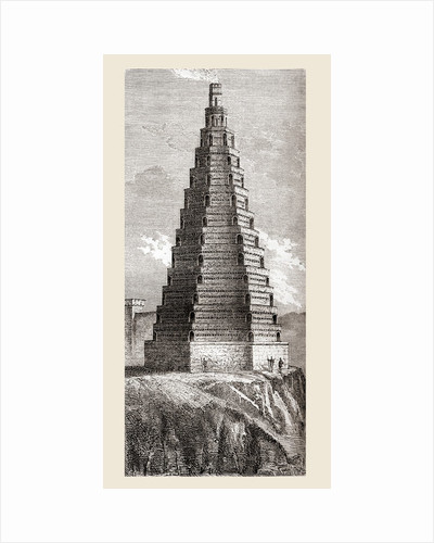 A 19th century depiction of The Tower of Order, destroyed in 1644, Boulogne-sur-Mer, France by French School