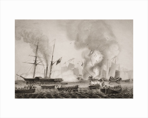 The Hon. East India Company's steamer Nemesis and the boats of The Sulpher, Calliope, Larne and Starling destroying the Chinese war junks in Anson's Bay by G.W. Terry