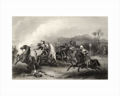 Encounter bewteen Lieutenant Hills and a body of Sepoy Cavalry by English School