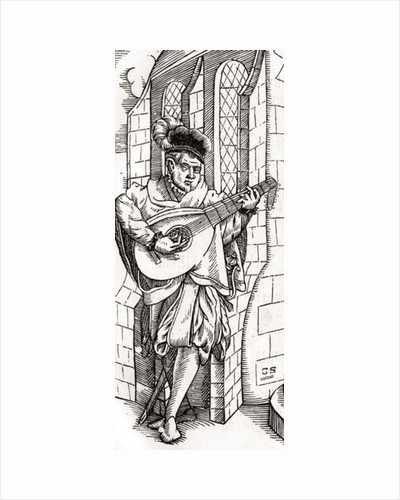 A Troubadour, detail of a woodcut by Unknown