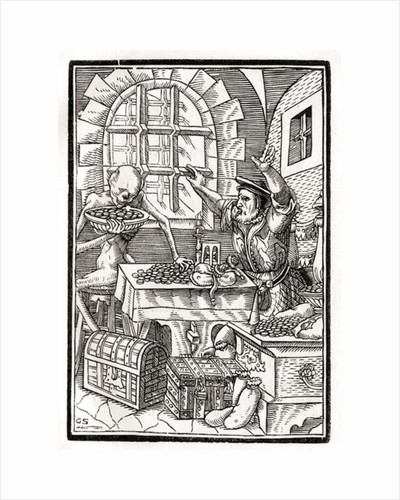Death comes to the Miser or Usurer by Hans Holbein The Younger
