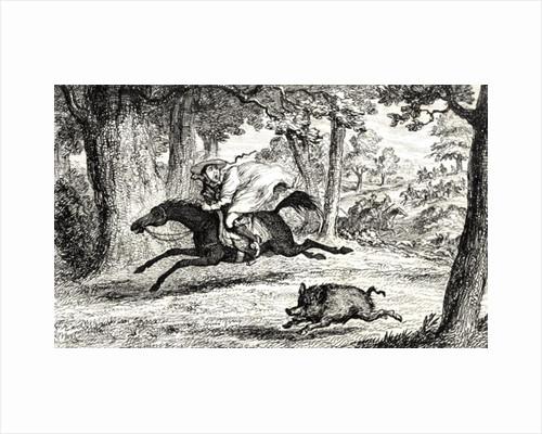 Cardinal Balue chasing a Boar by George Cruikshank