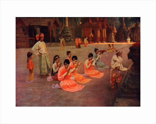 People of the Andaman and Nicobar Islands worshipping at a pagoda by Anonymous