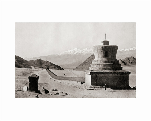 A Tibetan Mani-wall, near Leh in the Himalayas, terminated by two relic towers or chorlens by Anonymous