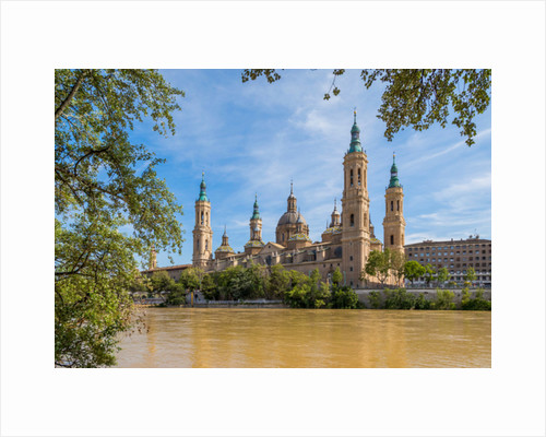 Basilica de Nuestra Señora del Pilar, or Our Lady of the Pillar, seen across the Ebro River, Zaragoza, Zaragoza Province, Aragon, Spain by Anonymous
