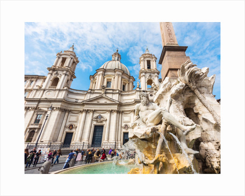 Rome, Italy. Piazza Navona. Fontana dei Quattro Fiumi, or Fountain of the Four Rivers, created by Gian Lorenzo Bernini by Anonymous