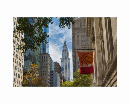 Looking up 42nd Street from outside the New York Public Library towards the art deco Chrysler Building by Anonymous