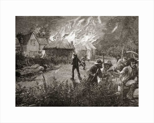 A mob in Kent, England burning a hayrick on a farm during The Swing Riots of 1830 by Anonymous