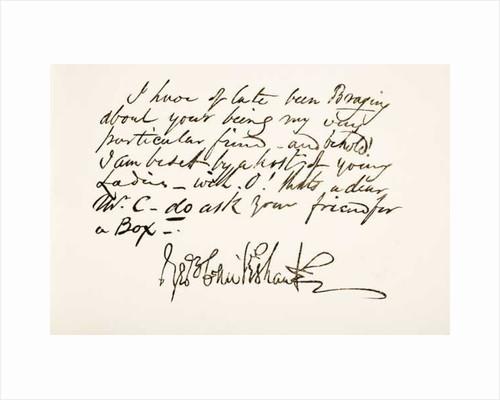 George Cruikshank. British caricaturist and book illustrator. Hand writing sample by Anonymous