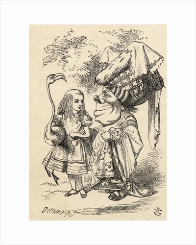 Alice with flamingo chats with the Duchess by John Tenniel