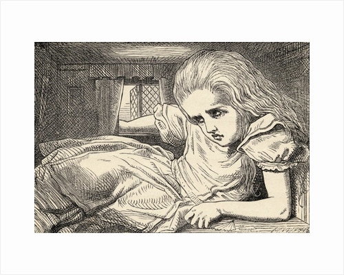 Alice grows too tall for the room by John Tenniel