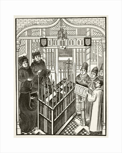 Funeral ceremony for a person of importance in the 15th century by English School