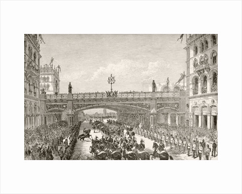 Queen Victorian opening Holborn Viaduct in 1869 by English School