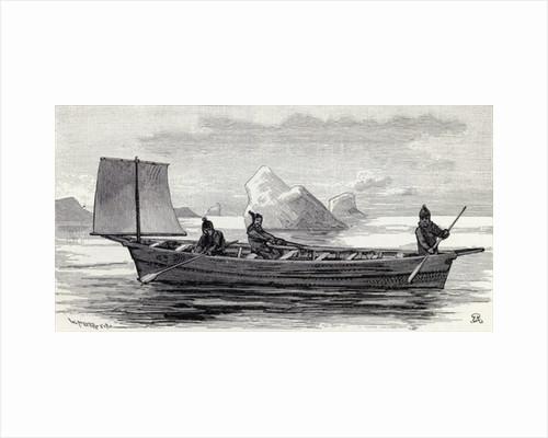 Eskimos in an umiak by English School