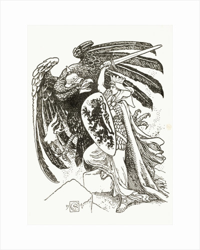 A Belgian warrior battling with a German eagle by Walter Crane