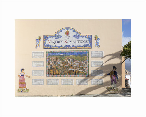 Wall display commemorating romantic travellers who have visited Ronda through the centuries by Anonymous