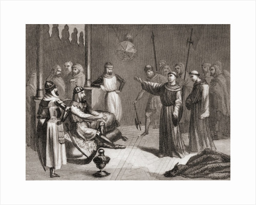 San Francisco of Assisi tries to convert Melek-el-Kamel to Christianity during the fifth crusade by Spanish School