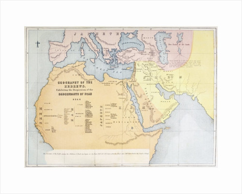 Map showing the geography of the Hebrews and exhibiting the dispersion of the descendents of Noah by English School