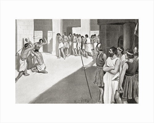 The cruel treatment of the Helots by the Spartans by English School