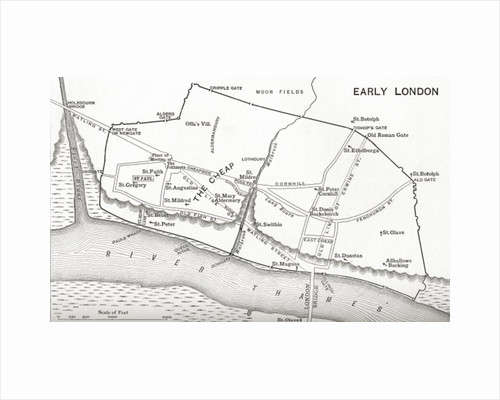 Map of London in the 11th century by English School