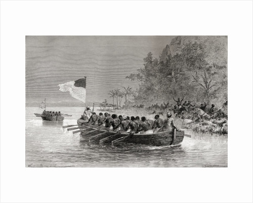 Dr. David Livingstone in the first boat, flying the English flag, and Henry Morton Stanley in the second boat, flying the American flag, during their expedition in Africa in 1872 by Emile Antoine Bayard