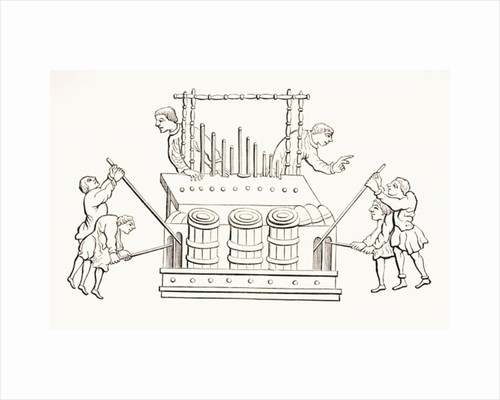 12th century bellows organ with two keyboards by French School