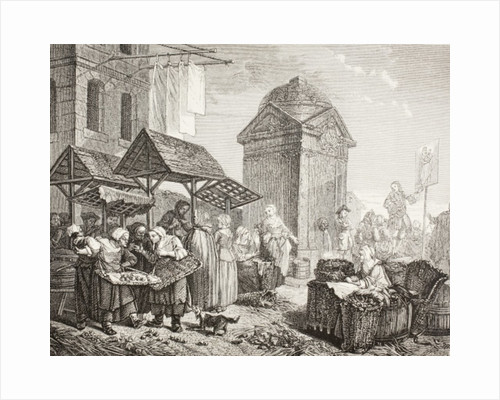 The market in the Place Maubert, Paris, in the 18th century, after a work by Jeaurat by French School