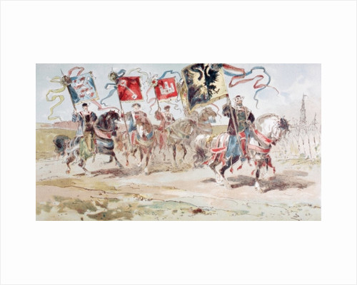 Horsemen carrying Banners of the Hanseatic League and of Towns belonging to the League by Armand Jean Heins