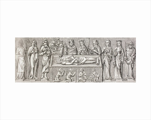 Illustration after the bas-relief on the tomb of Elisabeth of Hungary by French School