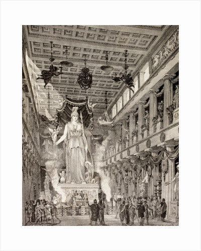 Artist's impression of the statue of the goddess Athena in the Parthenon, Athens, during the Classical period by European School