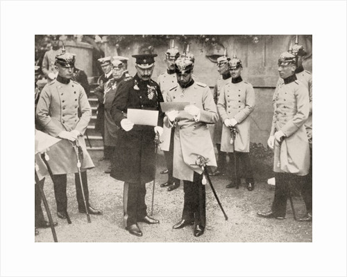 George V of England (right) visiting his cousin the Kaiser Wilhelm II of Germany in 1913 by Anonymous