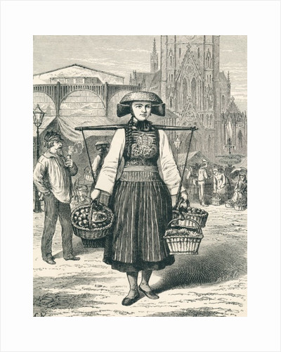 A Hamburg market woman, Hamburg, Germany in the 19th century by Anonymous