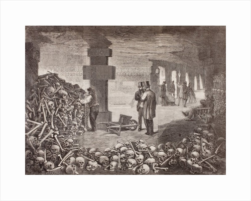 The Catacombs of Paris or Catacombes de Paris, Paris, France in the mid 19th century by Anonymous