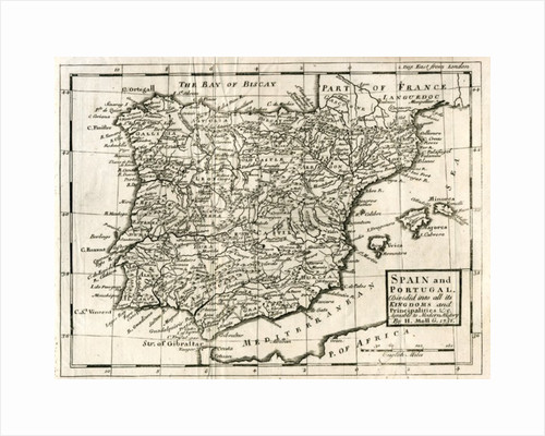 1731 Map of Spain and Portugal by Herman Moll. by Anonymous