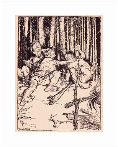 The giant gave the one who was sitting next to him a box on the ear. Illustration by Arthur Rackham from Grimm's Fairy Tale, The Skillful Huntsman by Anonymous